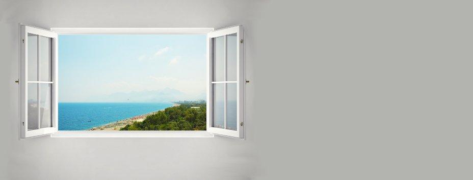 Öppet fönster, utsikt havet