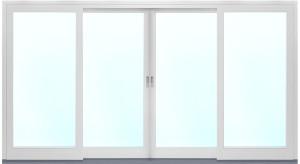 Fasadparti med aluminiumfönster och skjutdörrar
